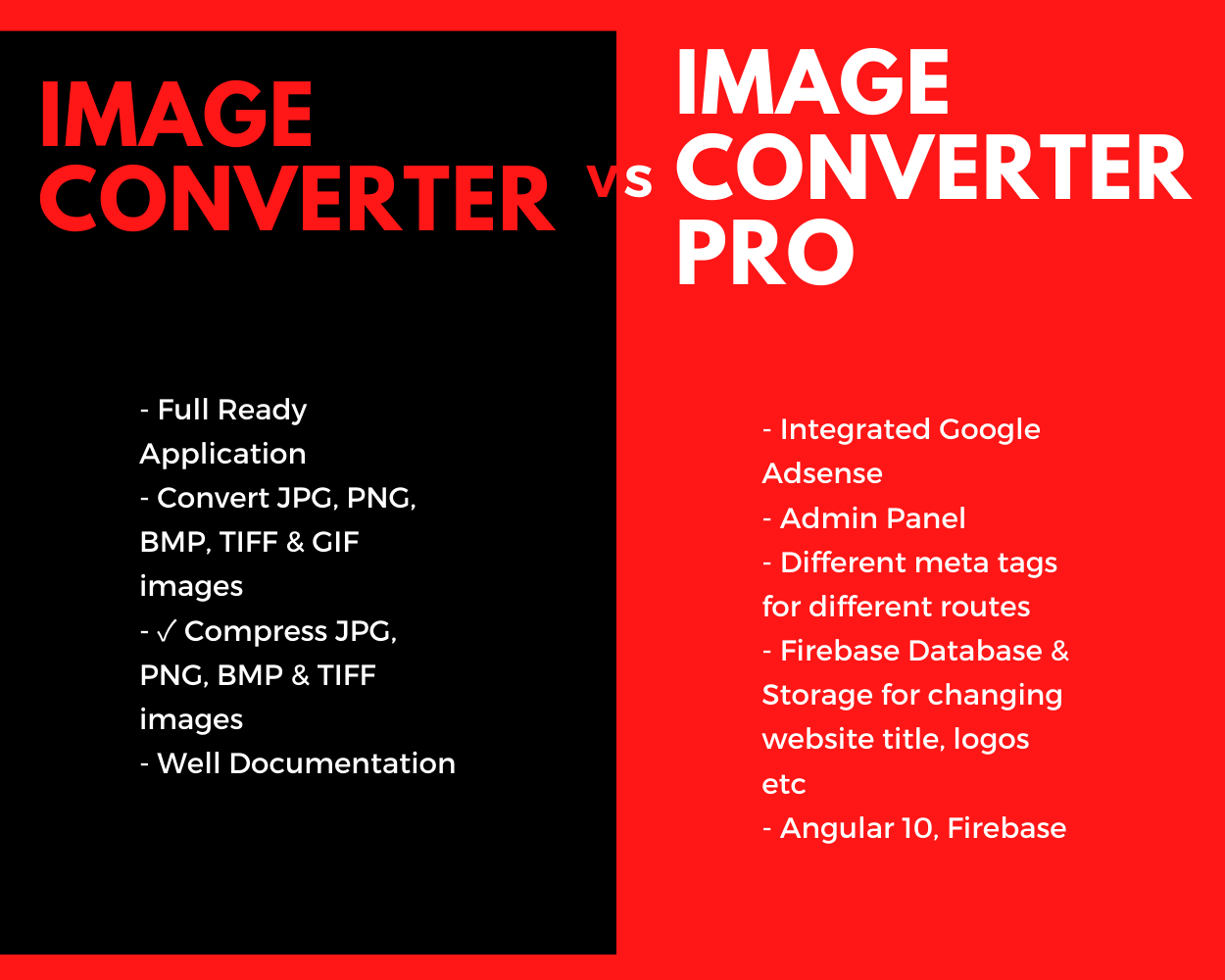 Image Converter Pro Full Production Ready Application With Admin Panel  (Angular 11 & Firebase) - 1